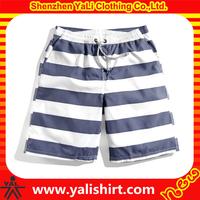 Stylish dri fit white blue striped 100% polyester beach shorts men surf board shorts
