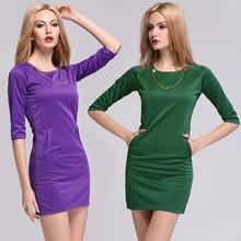 New Fashion Stylish Office Lady O-neck Above-knee Slim Simple Fancy Dress Costumes SV012204