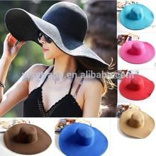 Women Girl Floppy Cap Wide Large Brim Summer Folding Beach Straw Sun Hat 58