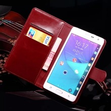 Genuine leather flip case for samsung galaxy note edge case