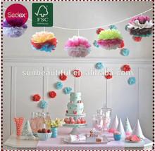 Multi-colors tissue paper pompoms decoration christmas cake