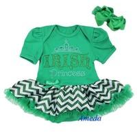 Baby St Patricks Day Green Chevron IRISH Princess Bodysuit Pettiskirt with Headband
