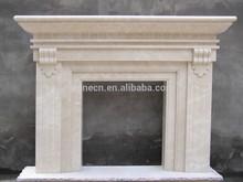 White Stone Indoor Freestanding Lion Head Fireplace Mantel
