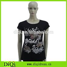 2015 Summer new arrival fashion women clothing black cotton lady T-shirt beaded short sleeve fitness vintage femininos T-shirt