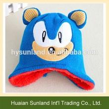 W-1090 fall winter animal children knit hat crochet kids fleece lined earflap hat