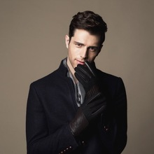 Fashion Mens Dress Brown Leather Gloves With Fabric