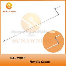 Foldable handle crank for tents, pergolas