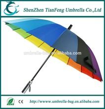 2015 new design good quality 16 color promotion straight rain umbrella