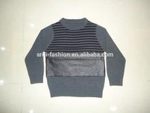 crewneck stripe hand knitting leather baby kids cashmere sweater