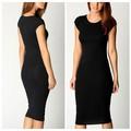 Msv005753 sólido negro Slinky vestido corto de la manga de fácil cuidado / desgaste de la ropa de viaje