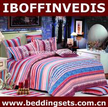 Pure cotton Euro style bedding set color stripe duvet cover