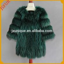 Natural real raccoon fur made lady fur coat