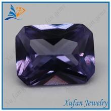 lab created rectangle shape purple corundum jewelry stone