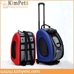Travel dog cat carrier two colors folding trolley pet carrier
