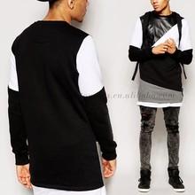 New 2015 Fashion Black White Longline Design TShirt Men