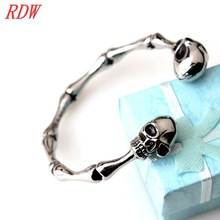 RDW Bangle Jewelry, High Polish And Top Quality Skull 316L Stainless Steel Bangle Cast Metal Skull Bangle
