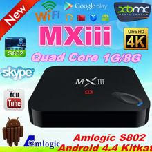 xbmc hd quad core android tv box dvb-t 1080p mxiii s802 mx3 android tv box with skype camera