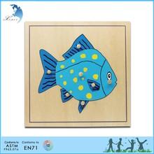 Preshool wooden toys Wooden kids Fish Puzzle montessori materials
