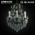 antique ferro cinzento cor folha lâmpada lustre de cristal para decoração de casa