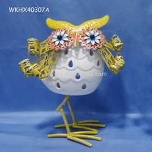 Tea light candle holder for ceramic owl lamp