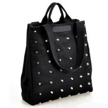 2015 New Women's Black Rivet Canvas Retro Handbag Fashion BUY Bag in China SV008093