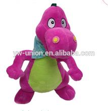 Chinese Shiny fur dinosaur plush , sitting toys stuffed dinosaur twinkling pet