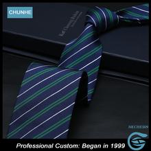 Chunhe Cheap Men Cyan Causual Striped 100% Silk Custom Design Necktie