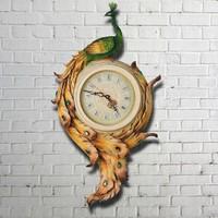 Beautiful polyresin peacock design quartz wall clock for home decoration