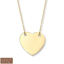 925 Sterling Silver Plain Heart Gold Plated Pendant Necklace for Women