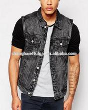 washable biker denim vest Adults wholesale waschbar jean vest outer wear wash-fast jean wear