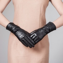 Fashion Women Sheep Black Leather Dress Gloves With Embroiders
