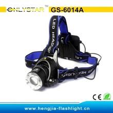 GS-6014A Aluminum XML T6 bulbs most powerful led headlight with dry battery