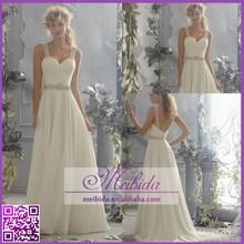 A-line Silhouette Straps Sweetheart Neckline Beaded Chiffon Bridal Dresses 2015