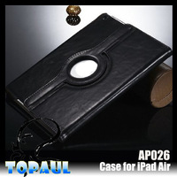 Paypal accepted stand leather case for ipad air 2 360 rotating case