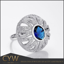 CYW Wholesale 925 Sterling silver rhodium Plating Big stone silver Rings Colombia's jewellery