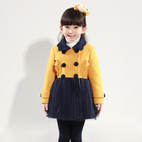 free shipping royal/yellow winter coat for girl russian long winter coat