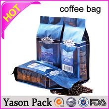 YASON matt coffee bag with hot stamp greenkraft paper bag with nuts/peanuts/coffee bean packingmetalliz foil coffee bags/side gu