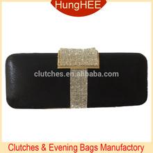 Newest 2015 Women Clutch Bag Crystal Mesh Clasp Black PU Clutch Evening Bags