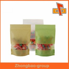 Sachet printing recycled brown paper bags with window for sweet candy/sugar packaging