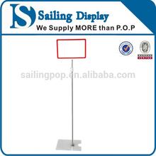 Plastic frame POP Display Holder/Pole Sign Holder/ floor type P.O.P Stand
