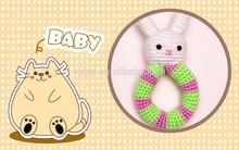 Crochet Baby bunny Rattle Cotton,white rabbit plush toy ring.
