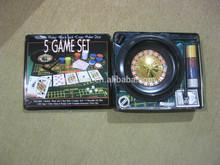 5-in-1 Casino Game in Tin Box /Roulette,Poker,Dice, Blackjack,Craps,Poker Dice