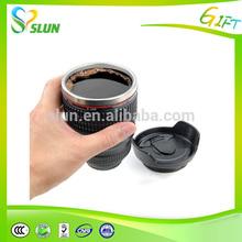 Metal material logo printed funny camera lens travel mug