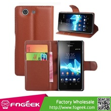 Lychee PU Leather Wallet Stand Case with Card Slots for Sony Xperia Z3 Compact D5803 M55w