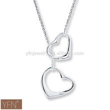 Double Classic Mini Heart Fine Jewelry Pendant Necklace Love Gift