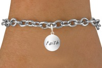 wholesale customized zinc alloy engraved word faith charms link bracelet jewelry free shipping