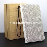 New luxury bling full crystal rhinestone diamond flip wallet leather phone case