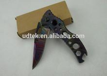 OEM camo blade knife with Coated Blade Titanium surface knife