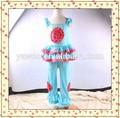 Design personalizado atacado mangas Ruffle flor Top e Casual calça cor sólida roupas artesanais bebê