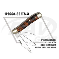 "3"" closed imitation turtle shell handle zipped case pocket knife three blades(1PC331-30FTS-3)"